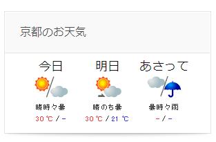 京都のお天気掲載します!