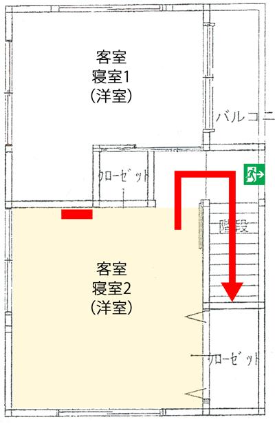 簡易宿所の避難経路図
