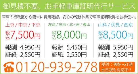 京都市内の車庫証明を税込4,950~5,950円の3プライスで代行します!